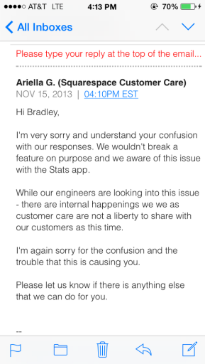 Squarespace's representative got back to a customer with a cryptic message which might signal that their new iOS app is coming, they've been bought/acquired or they're shutting down.