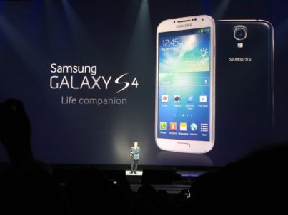 The Big Reveal: J.K. Shin shows the S4 off to the world.