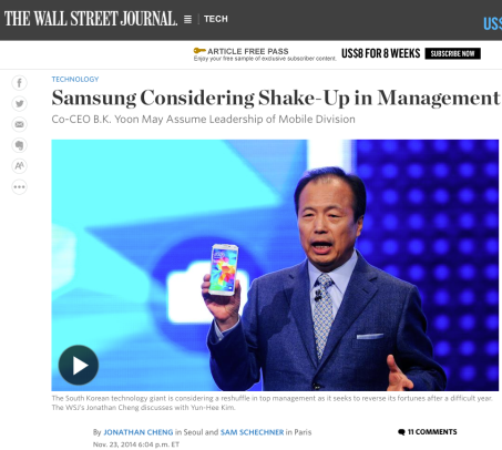 This WSJ created a firestorm within Samsung.