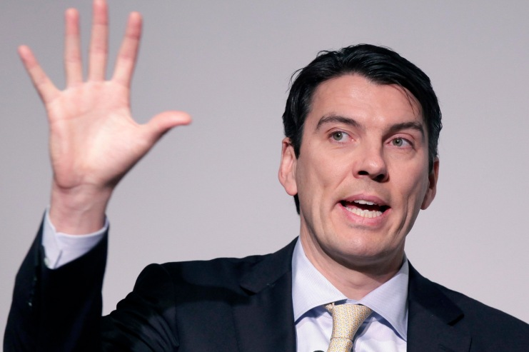 Tim Armstrong, Chairman and CEO of AOL, talks at a media summit, Thursday, March 10, 2011 in New York. (AP Photo/Mark Lennihan)